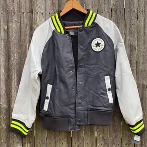 Converse Faux Leather Fleece Lined Varsity Jacket